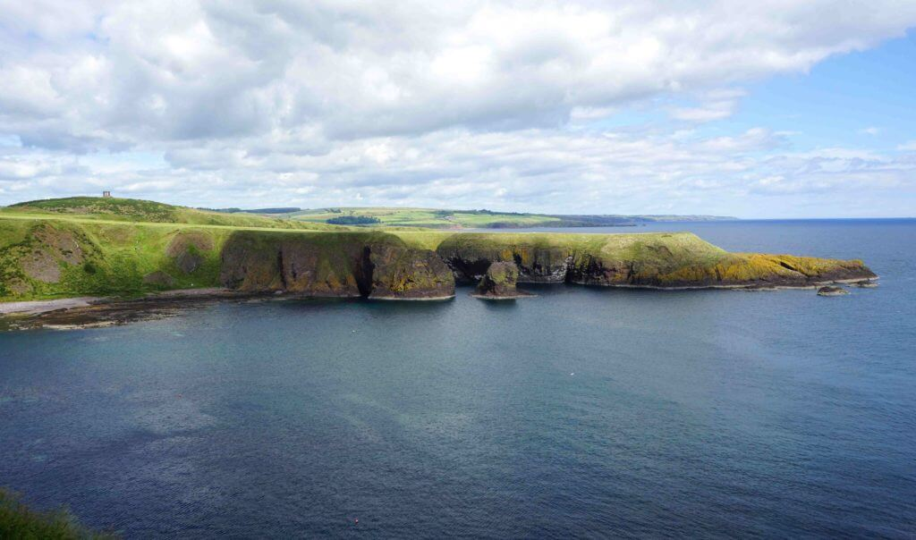 A view of Scotland's scenic coastline from Dunnottar Castle, near Stonehaven