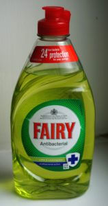 A bottle of FAIRY brand 'washing up liquid'