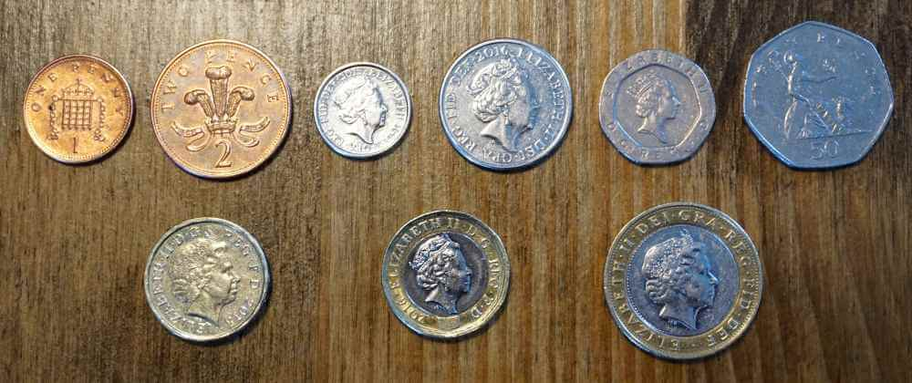 British coins from one pence to two pounds