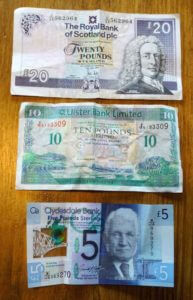 Comparative sizes of British currency