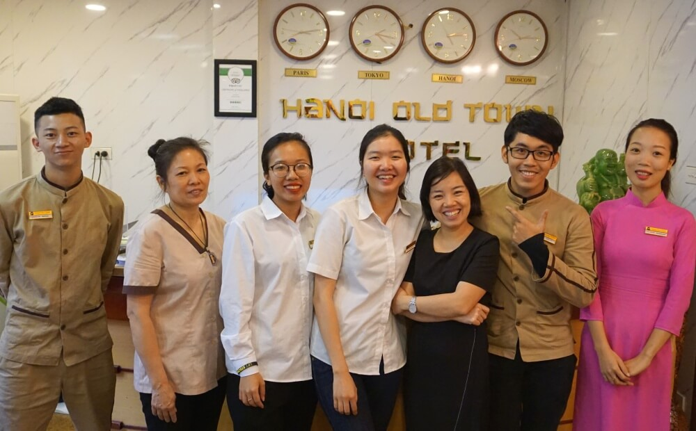 Hanoi Old Town Hotel staff members David, Oanh, Giang, Chi, Sarah, James and Lily